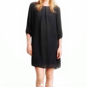 H&M Dark Gray Crepe Chiffon Shift Dress